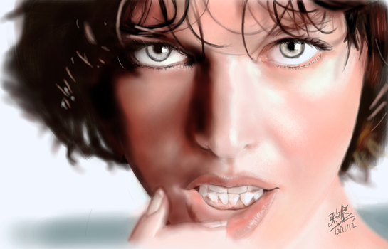 iPad finger painting of Milla Jovovich by chaseroflight