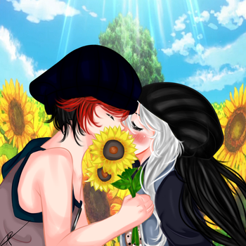 Yatsu and Panda Lion flower kiss by pandanekochanx3