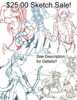 Taking three sketch commissions $25.00 by lady-cybercat