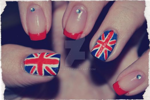 Union Jack // Britain flag nails by ViiviASD