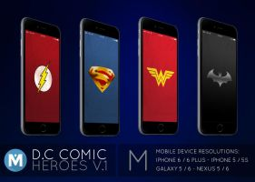 MOBILE : D.C Comic Heroes 1 Wallpaper Pack by polygn