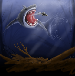 Megalodon in a rotting jungel speed paint Rotting  by SvartabergetArt
