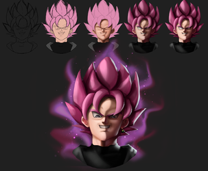 Shading Practice: Goku Black (Rose) by CaptainCeja