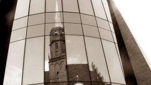 Church in the mirror sepia by CocoMadamoiselle