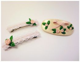 Roses and ribbons barrettes by Koreena