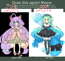 [draw this again] 2015 to 2017 by Purrsephone-Kitten
