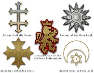 The World of Aeran - Religious Symbols - Colour by ZenithComics
