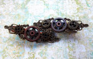 Steampunk Gear Hair Clip by random-wish
