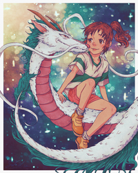 My Painting of Chihiro And Haku by dwightyoakamfan