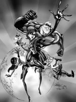 THE INCREDIBLES black and white by CThompsonArt