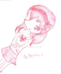 Anime Girl in Red Color Pencil by RareOwl