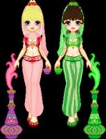 I Dream of Jeannie and Sister by starfiregal92