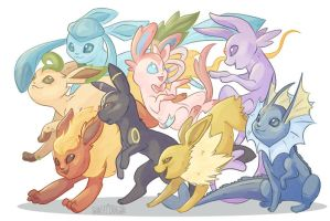 Eeveelutions by Flying-Fox