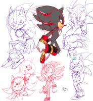sonic n shadow doodles by Imtoolazytothink