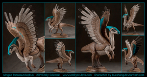 Commission : Winged Parasaurolophus by emilySculpts