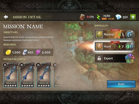 Dungeon hunter 5 Mission Detail menu by Panperkin
