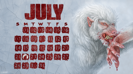 July Werewolf Desktop Wallpaper Calendar by Viergacht