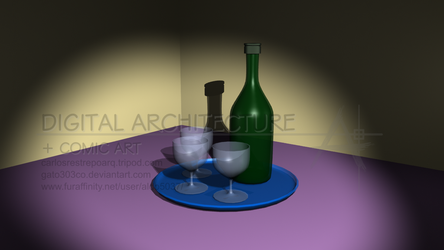 Bottle Cups and Tray by gato303co