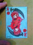 ACEO #75 Anime theme Ruby Rose themed playing card by ShelandryStudio