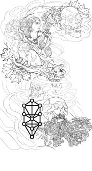 Tattoo sleeve design:Mother Nature, Life and Death by johndevilman
