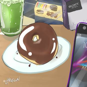 Eating donuts, sipping Matcha, Xperia by cHakigun