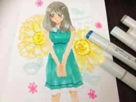Anime Girl Drawing with copic markers by angiewaiwai