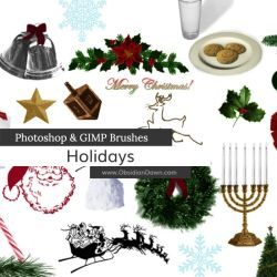 Holiday Photoshop and GIMP Brushes by redheadstock