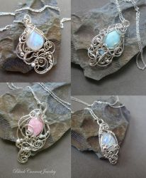 Four Tiny Pendants in sterling silver by blackcurrantjewelry