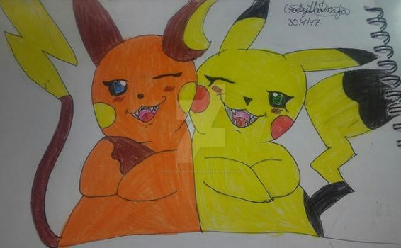 Pikachu and Raichu feminine by GodzillaTinaja
