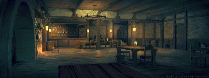 Netflix Castlevania Background : Tavern by Tohad