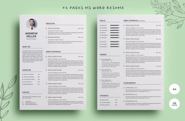 04 Pages WORD Resume by khaledzz9