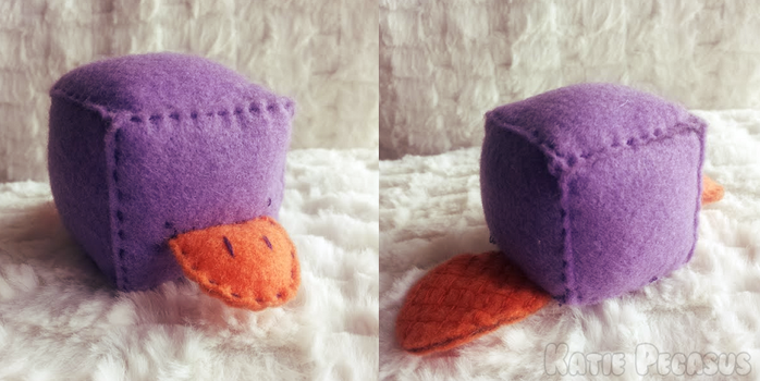 Purple Platypus Cube Plush by KatiePegasus