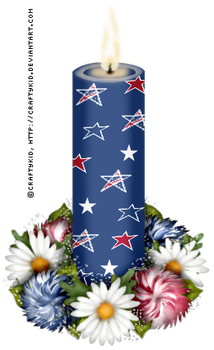 Blue Stars Candle with flowers by Craftykid