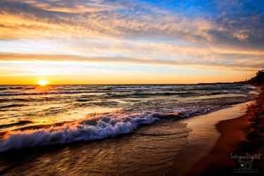 Rolling Waves as the Sun Sets over Lake Michigan by JessicaDobbs