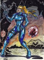 Zero Suit Samus and Metroid by Joelchan
