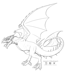 Free Wyvern Line Art by Blacktiger5