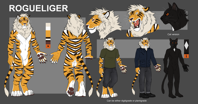 Liger/Cat character sheet by RogueLiger