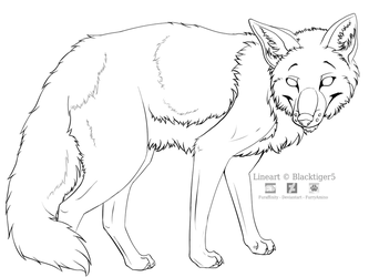 Free Fox Line Art by Blacktiger5