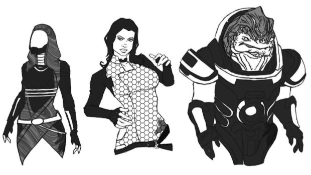 Mass Effect characters by ZolaPaulse