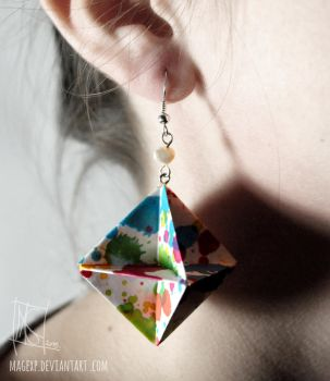 Raibow Blots Origami Earrings :ON SALE: by MaGeXP