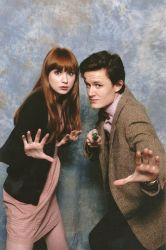 Me and Karen Gillan doing the 'hand pose' at CMMK by Matteleven