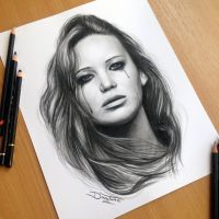 Jennifer Lawrence Pencil Drawing by AtomiccircuS