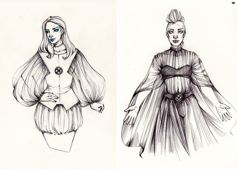 Sketch 13/11 - White Queen and Storm by MadBlackie