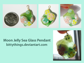 Moon Jelly Sea Glass Pendant by Bittythings