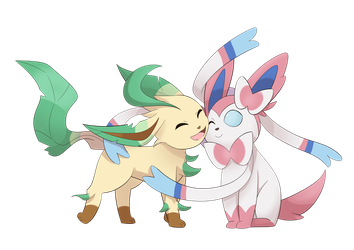 Leafeon hugs Sylveon by ButterLux