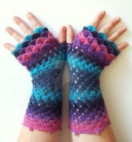 Mermaid Dragon Gloves by FearlessFibreArts