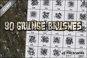 Thirty Grunge Brushes - GIMP by free-brushes
