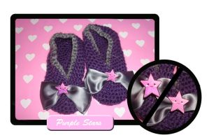 Purple stars baby slippers by Erikor