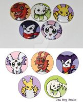 Digimon Tamer 1 inch Button Set by JellySoupStudios