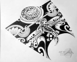 Polinesian and dotwork. Tattoo sketch by AsikaArt